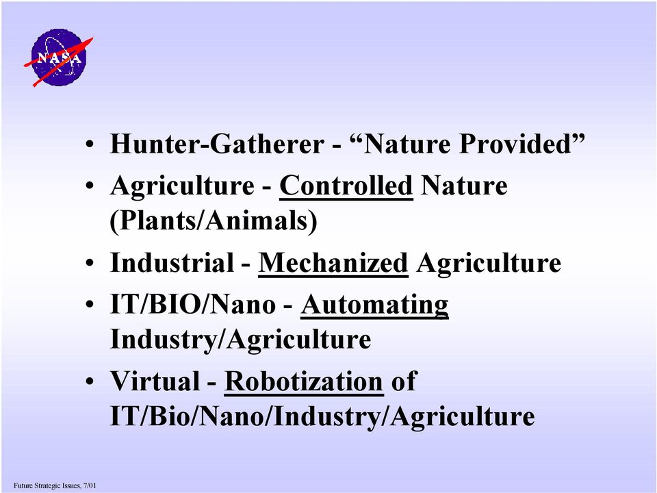 Mechanized Agriculture IT/BIO/Nano - Automating