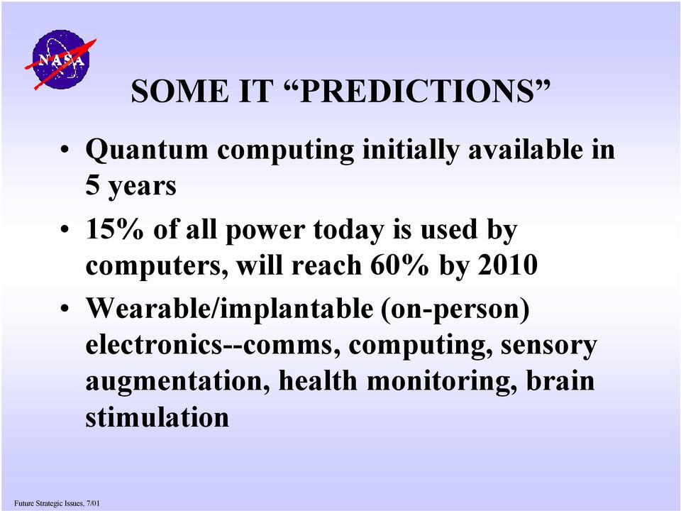 60% by 2010 Wearable/implantable (on-person) electronics--comms,