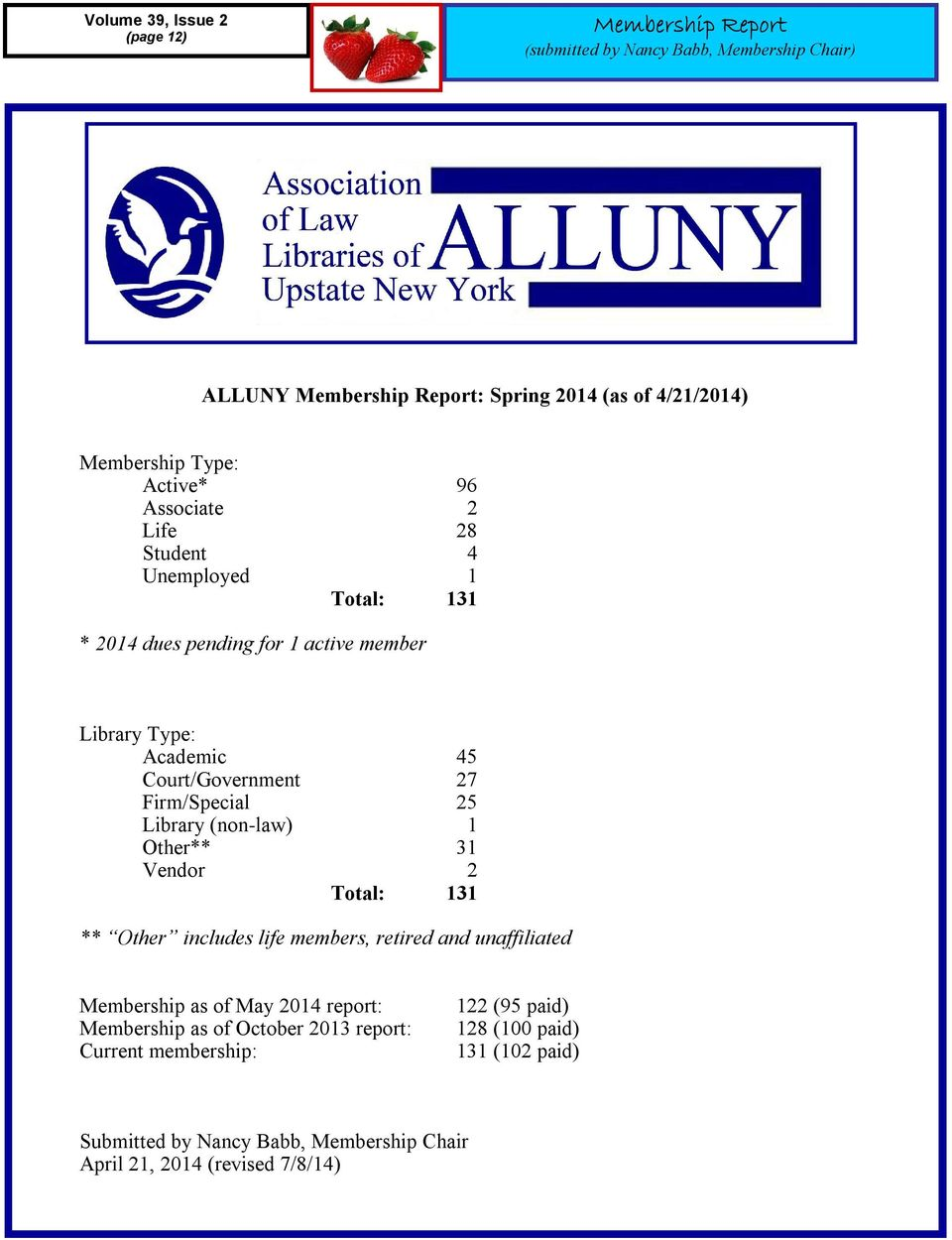 Firm/Special 25 Library (non-law) 1 Other** 31 Vendor 2 Total: 131 ** Other includes life members, retired and unaffiliated Membership as of May 2014 report: