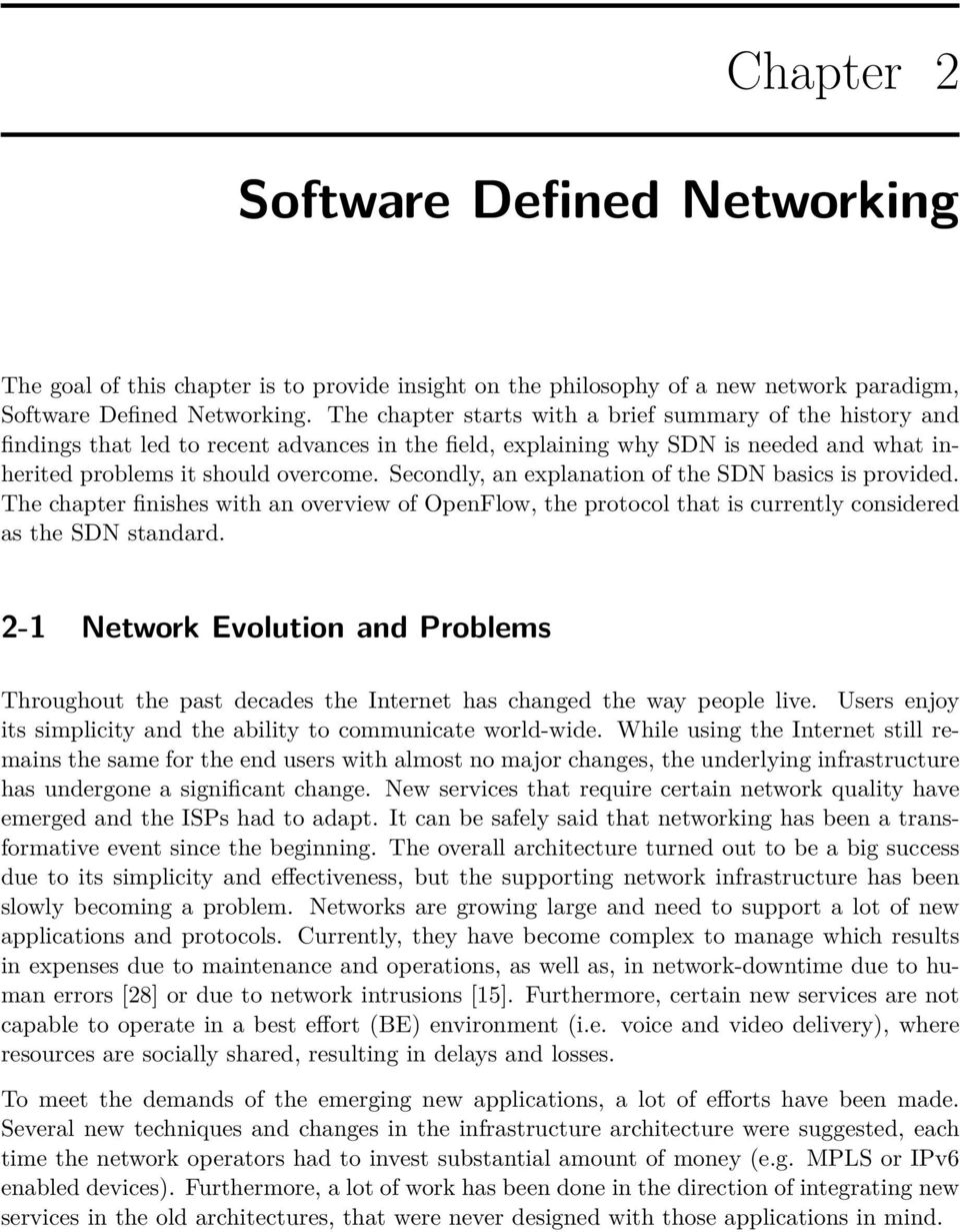 Research Thesis in Software Defined Networking