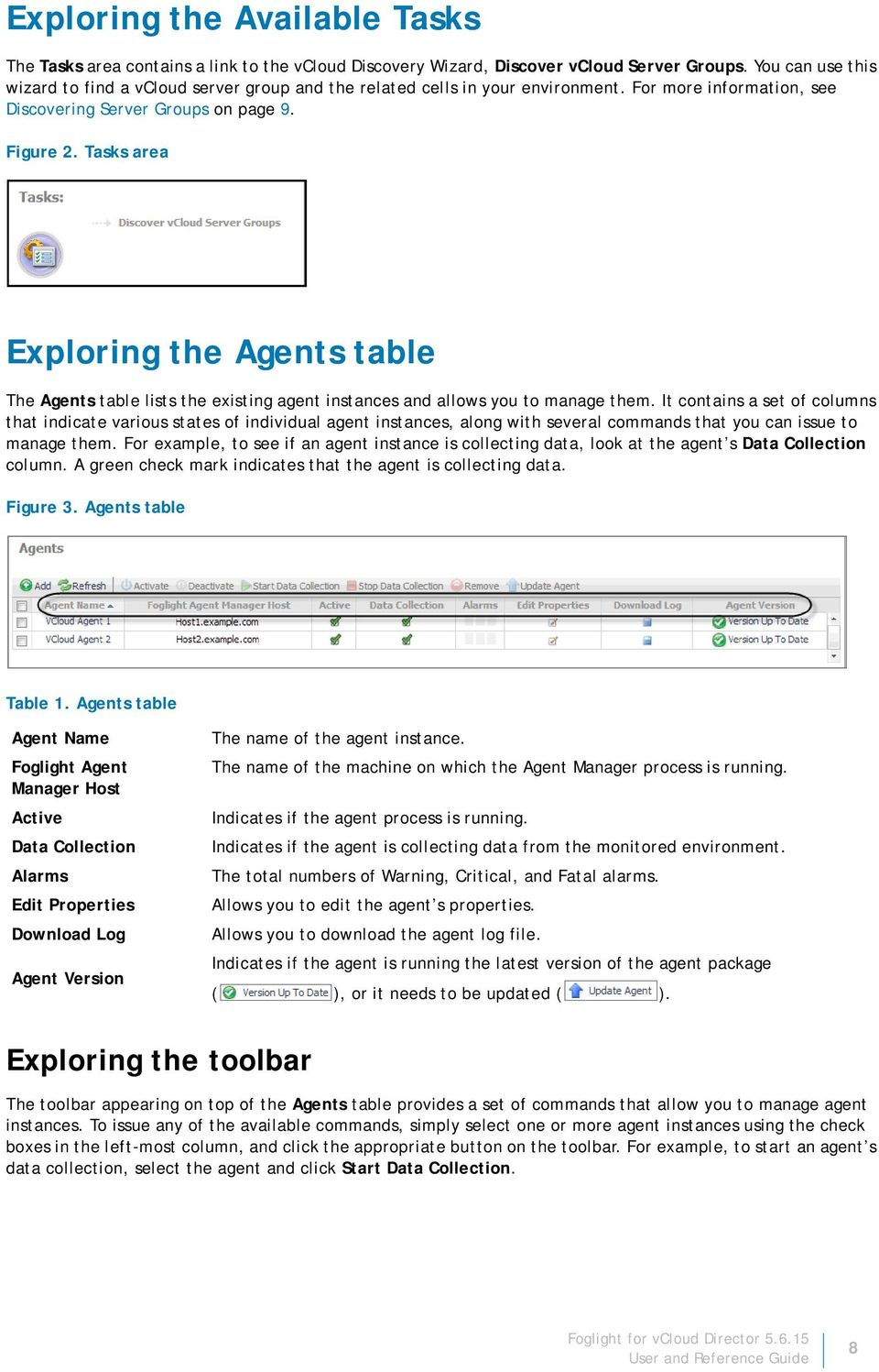 Tasks area Exploring the Agents table The Agents table lists the existing agent instances and allows you to manage them.