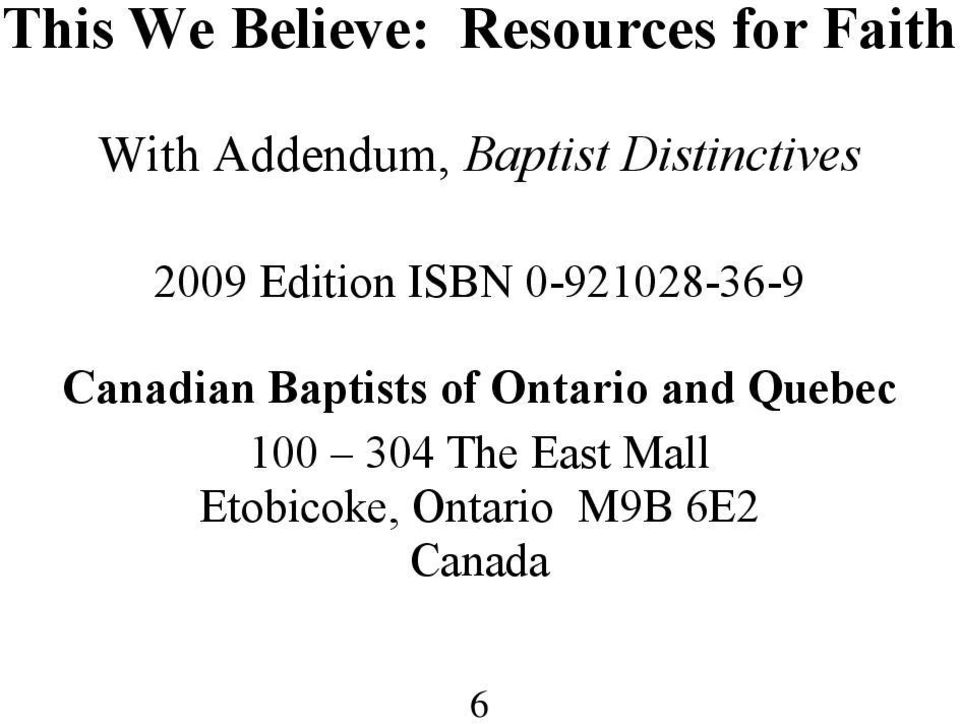 0-921028-36-9 Canadian Baptists of Ontario and