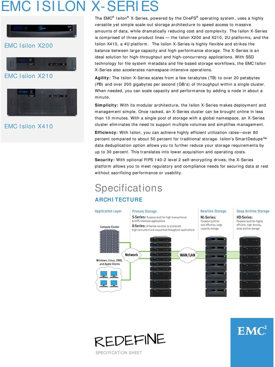 The Isilon X-Series is comprised of three product lines the Isilon X200 and X210, 2U platforms, and the Isilon X410, a 4U platform.