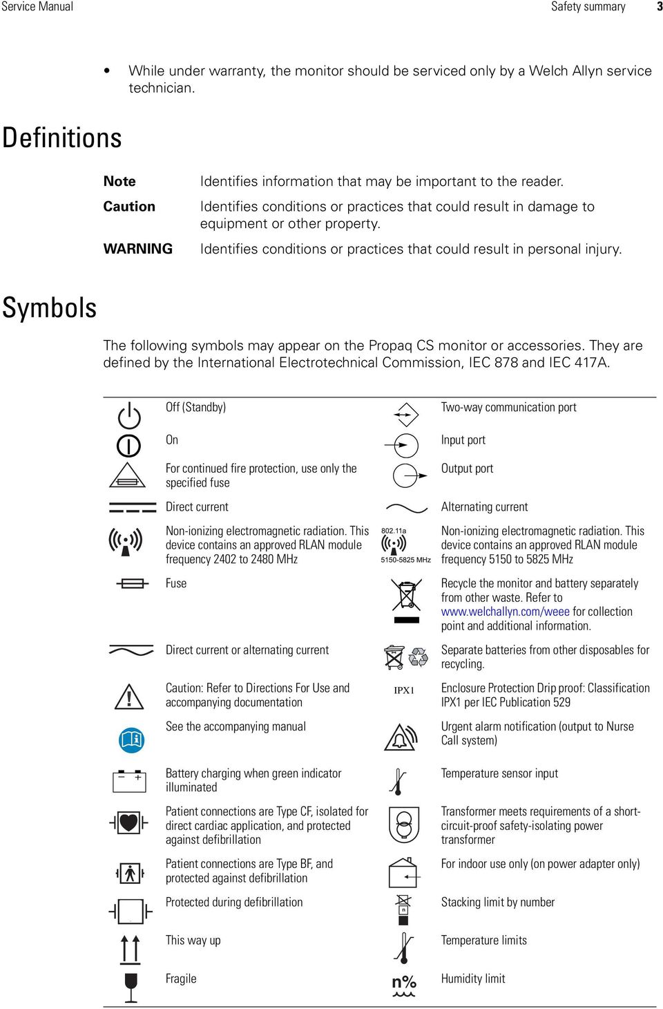 Identifies conditions or practices that could result in personal injury. Symbols The following symbols may appear on the Propaq CS monitor or accessories.