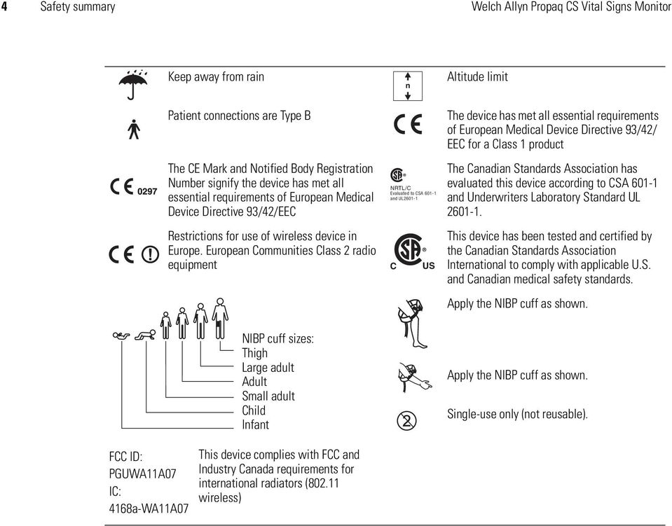 Device Directive 93/42/ EEC for a Class 1 product The Canadian Standards Association has evaluated this device according to CSA 601-1 and Underwriters Laboratory Standard UL 2601-1.