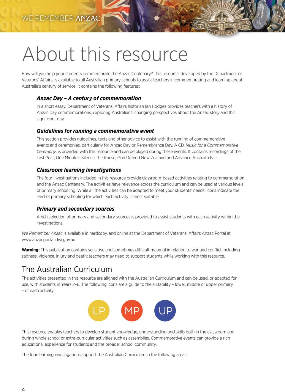 primary resource we remember pdf it contains the following features anzac day a century of commemoration in a short essay