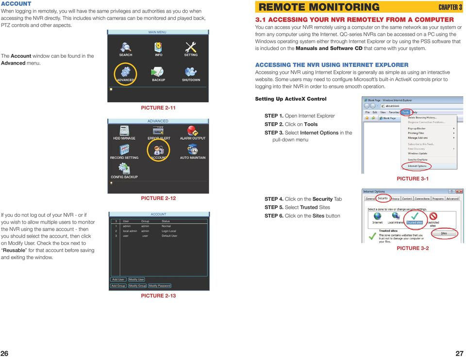 MAIN MENU SEARCH INFO SETTING ADVANCED BACKUP SHUTDOWN PICTURE 2-11 REMOTE MONITORING CHAPTER 3 3.