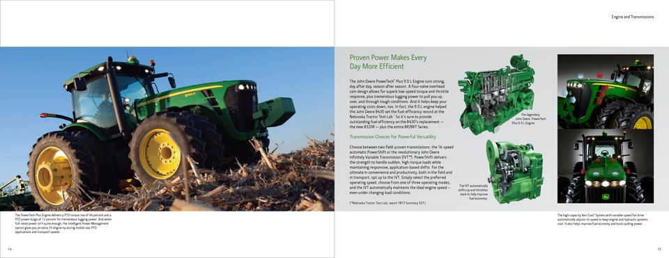 And it helps keep your operating costs down, too. In fact, the 9.0 L engine helped the John Deere 8430 set the fuel-efficiency record at the Nebraska Tractor Test Lab.