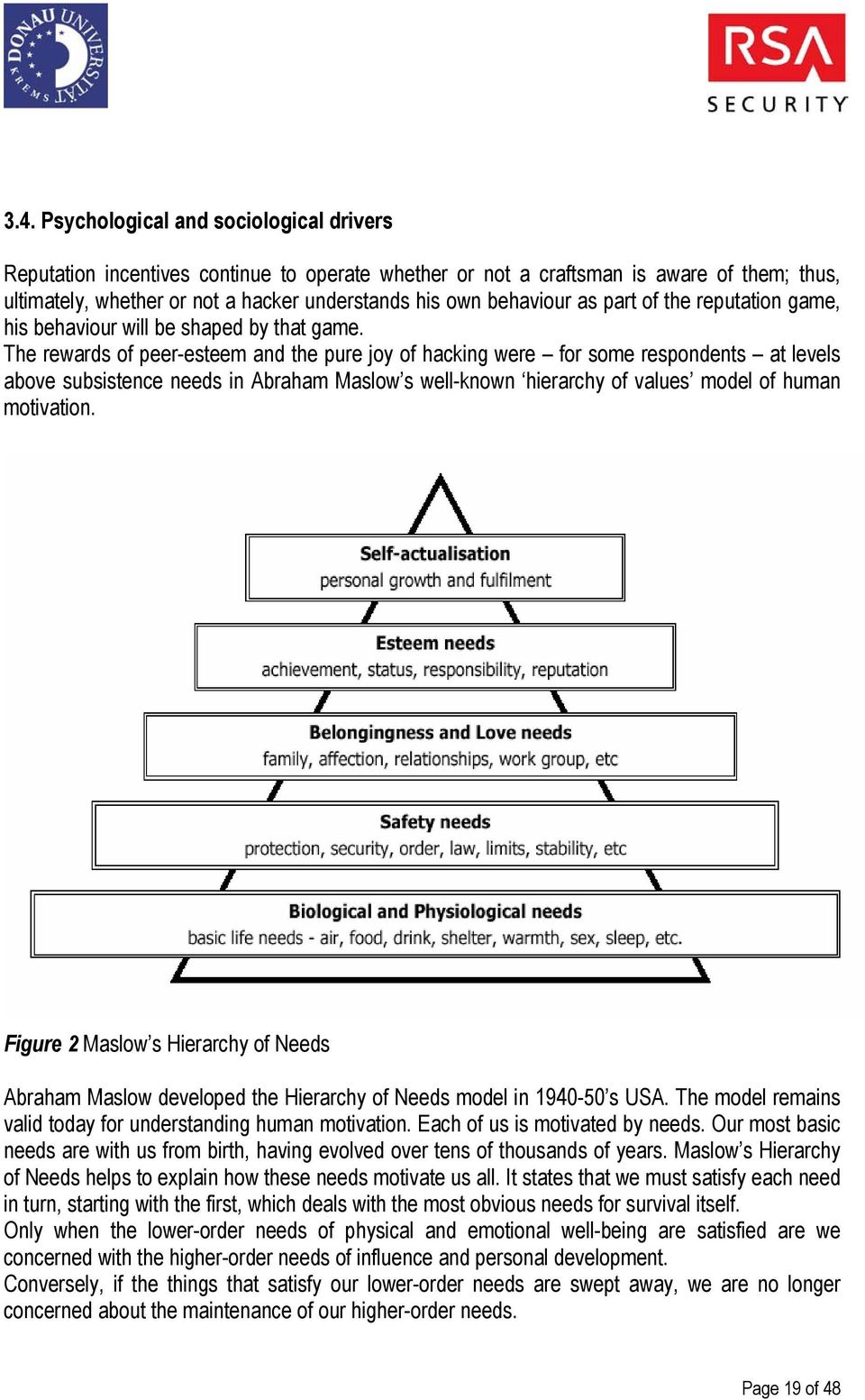 The rewards of peer-esteem and the pure joy of hacking were for some respondents at levels above subsistence needs in Abraham Maslow s well-known hierarchy of values model of human motivation.