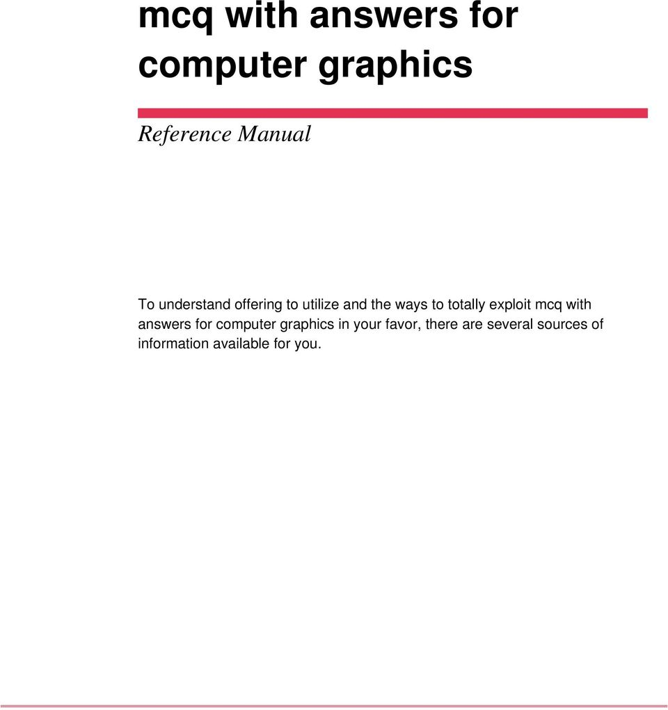 exploit mcq with answers for computer graphics in your