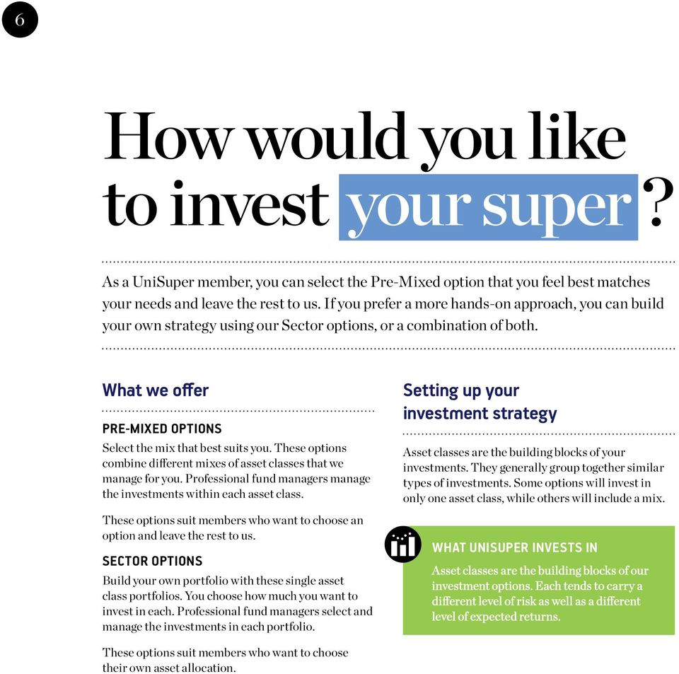 These options combine different mixes of asset classes that we manage for you. Professional fund managers manage the investments within each asset class.