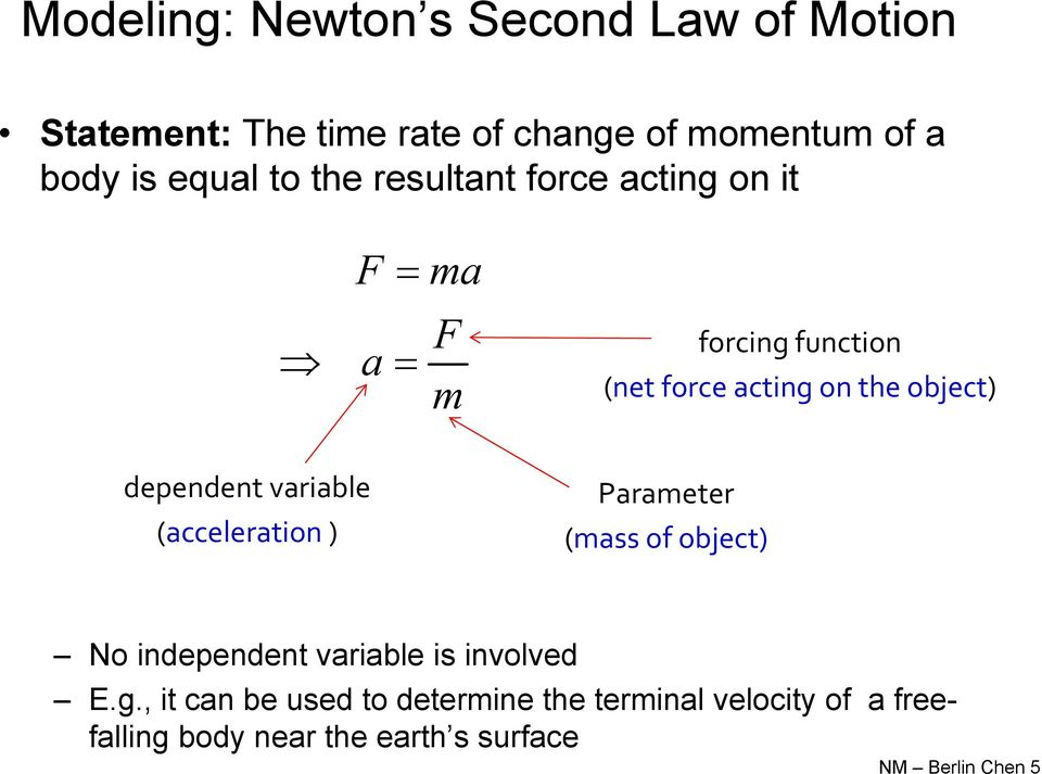dependent variable (acceleration ) Parameter (mass of object) No independent variable is involved E.g.