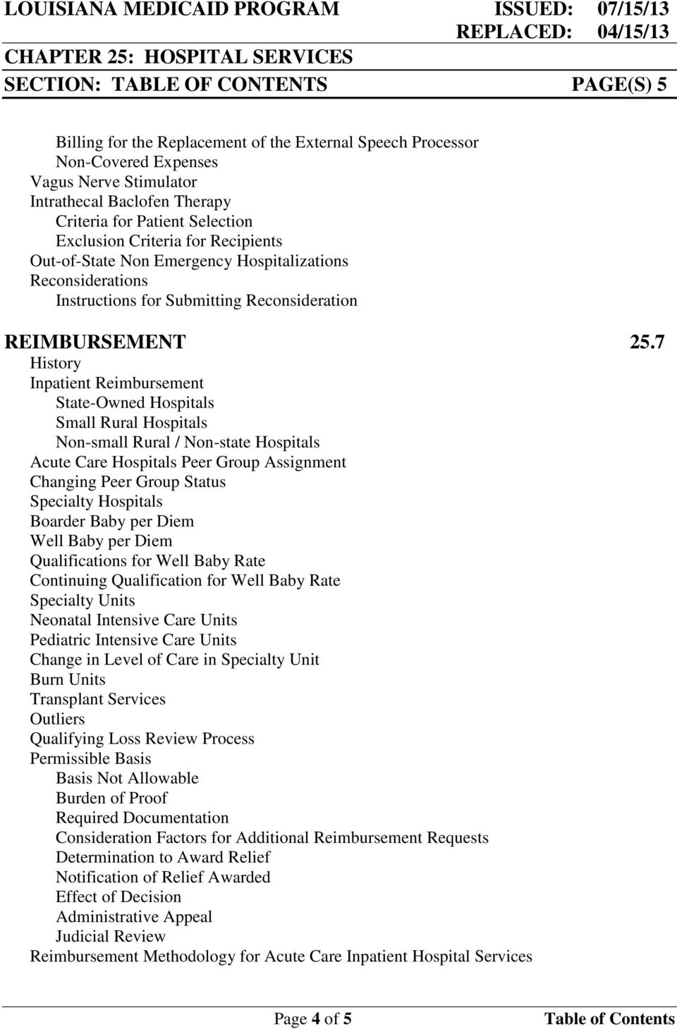 Reconsideration REIMBURSEMENT 25.