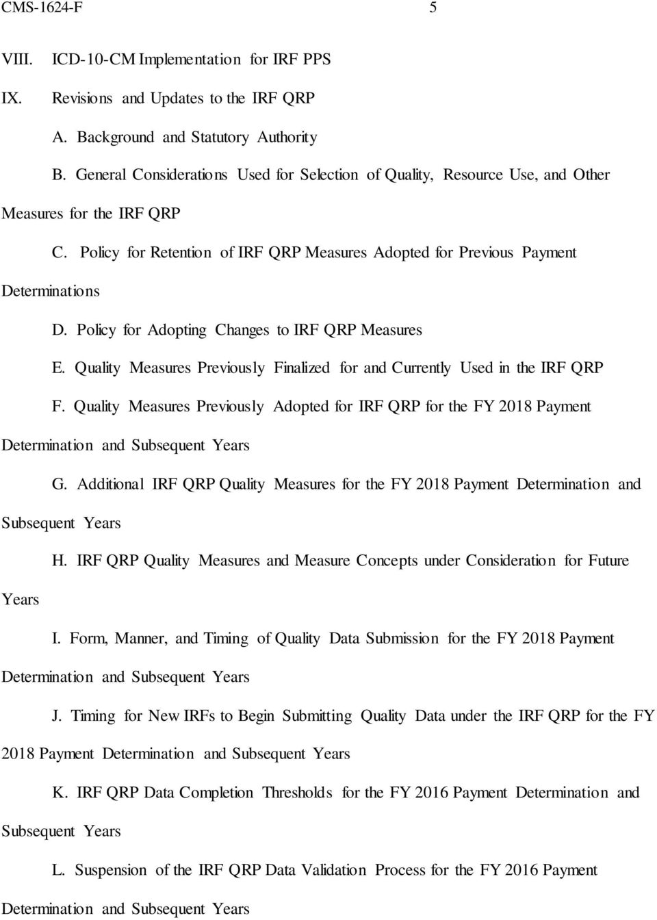 Policy for Adopting Changes to IRF QRP Measures E. Quality Measures Previously Finalized for and Currently Used in the IRF QRP F.