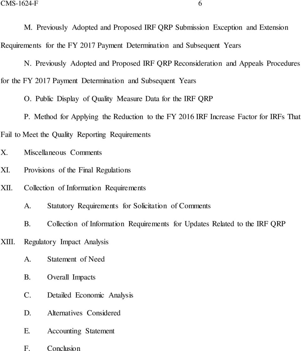 Method for Applying the Reduction to the FY 2016 IRF Increase Factor for IRFs That Fail to Meet the Quality Reporting Requirements X. Miscellaneous Comments XI. XII.