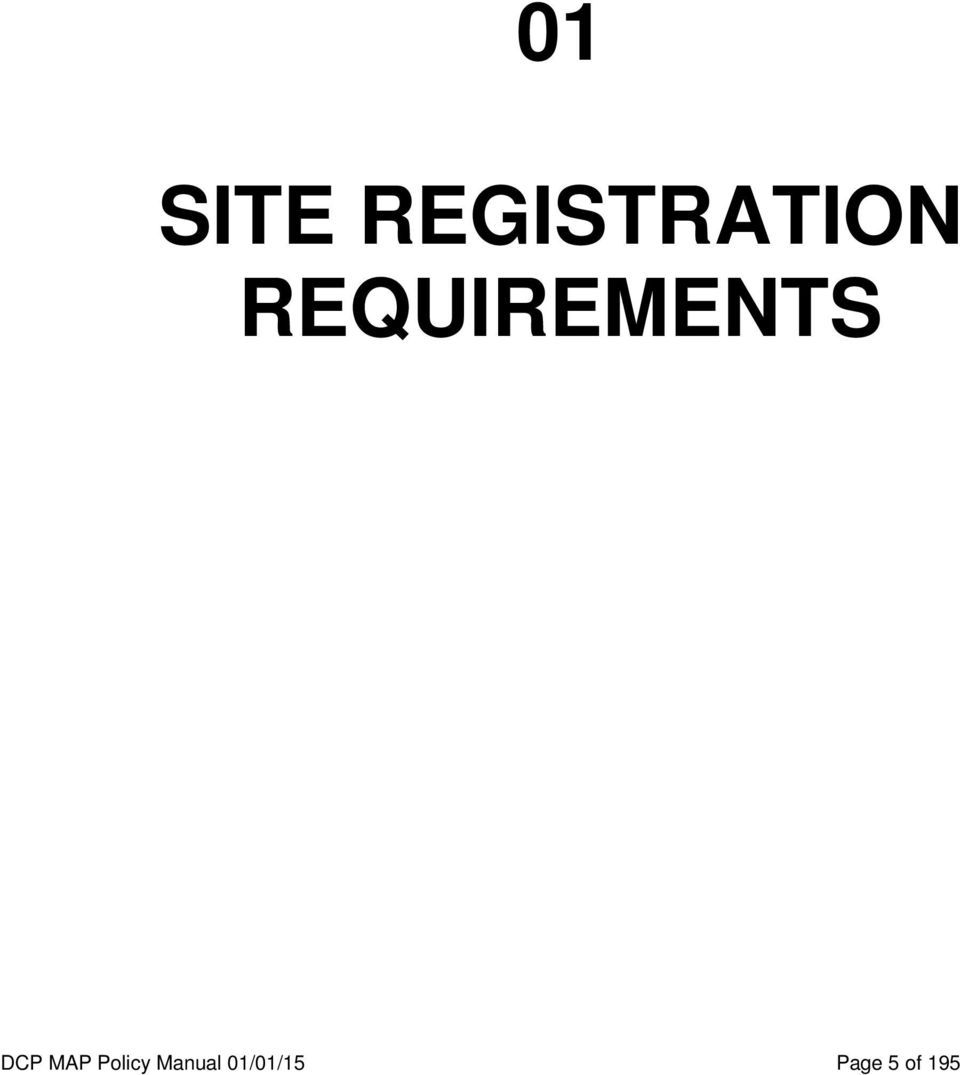 REQUIREMENTS DCP