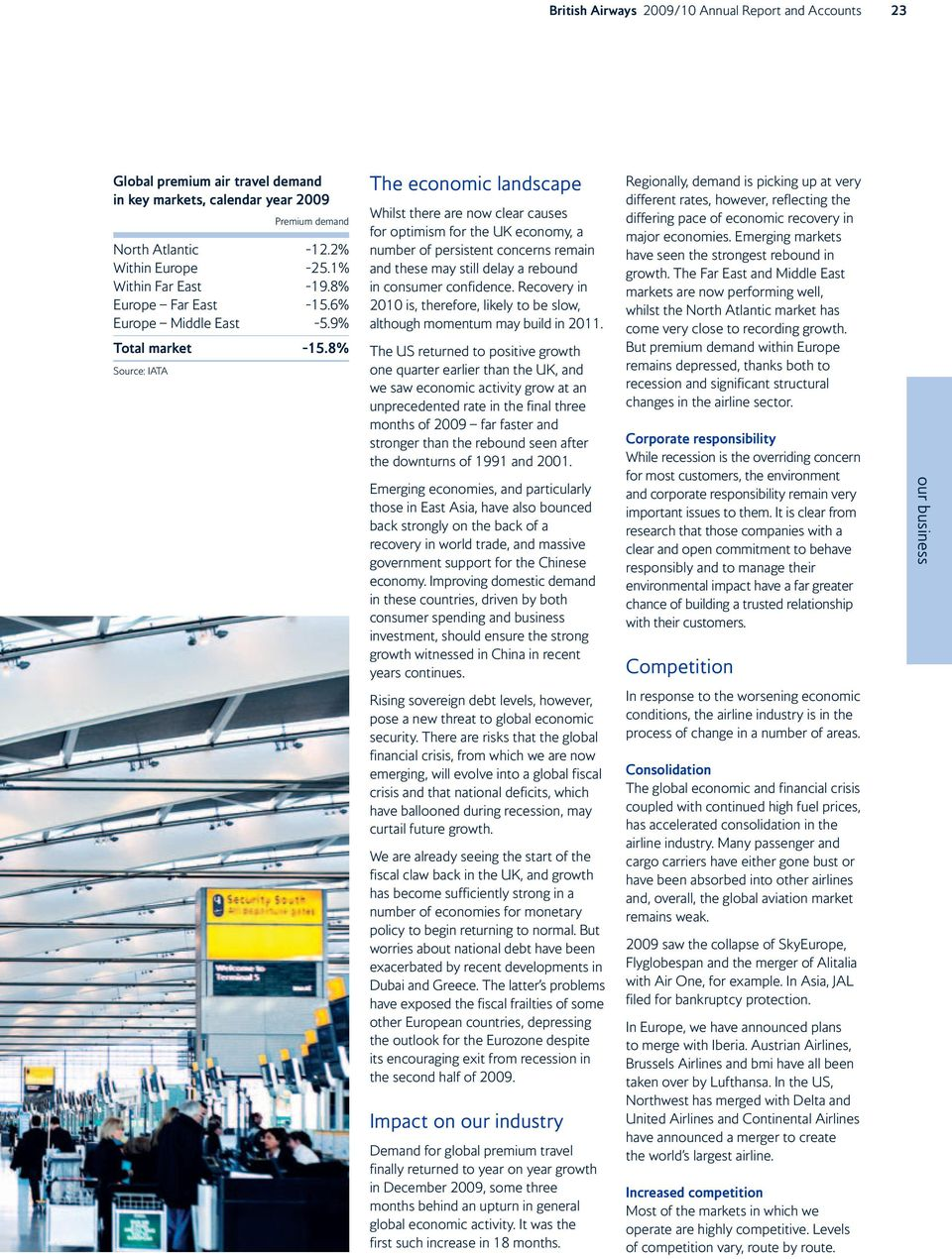 8% Source: IATA The economic landscape Whilst there are now clear causes for optimism for the UK economy, a number of persistent concerns remain and these may still delay a rebound in consumer