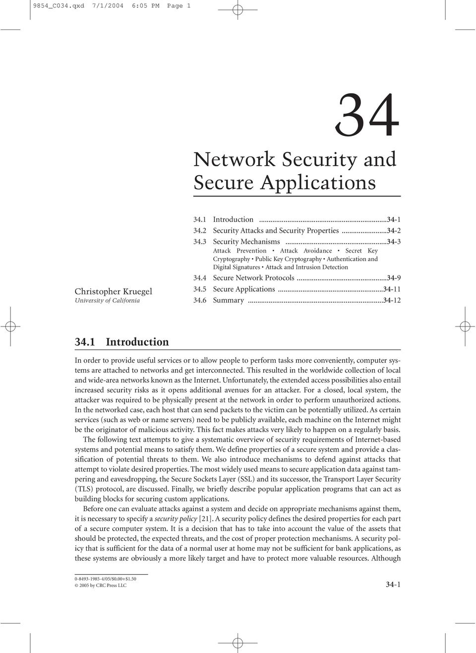 4 Secure Network Protocols...34-9 34.5 Secure Applications...34-11 34.6 Summary...34-12 34.