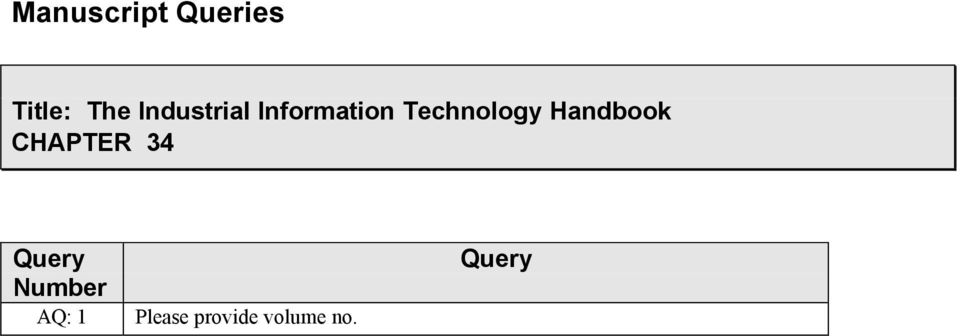 Handbook CHAPTER 34 Query Number