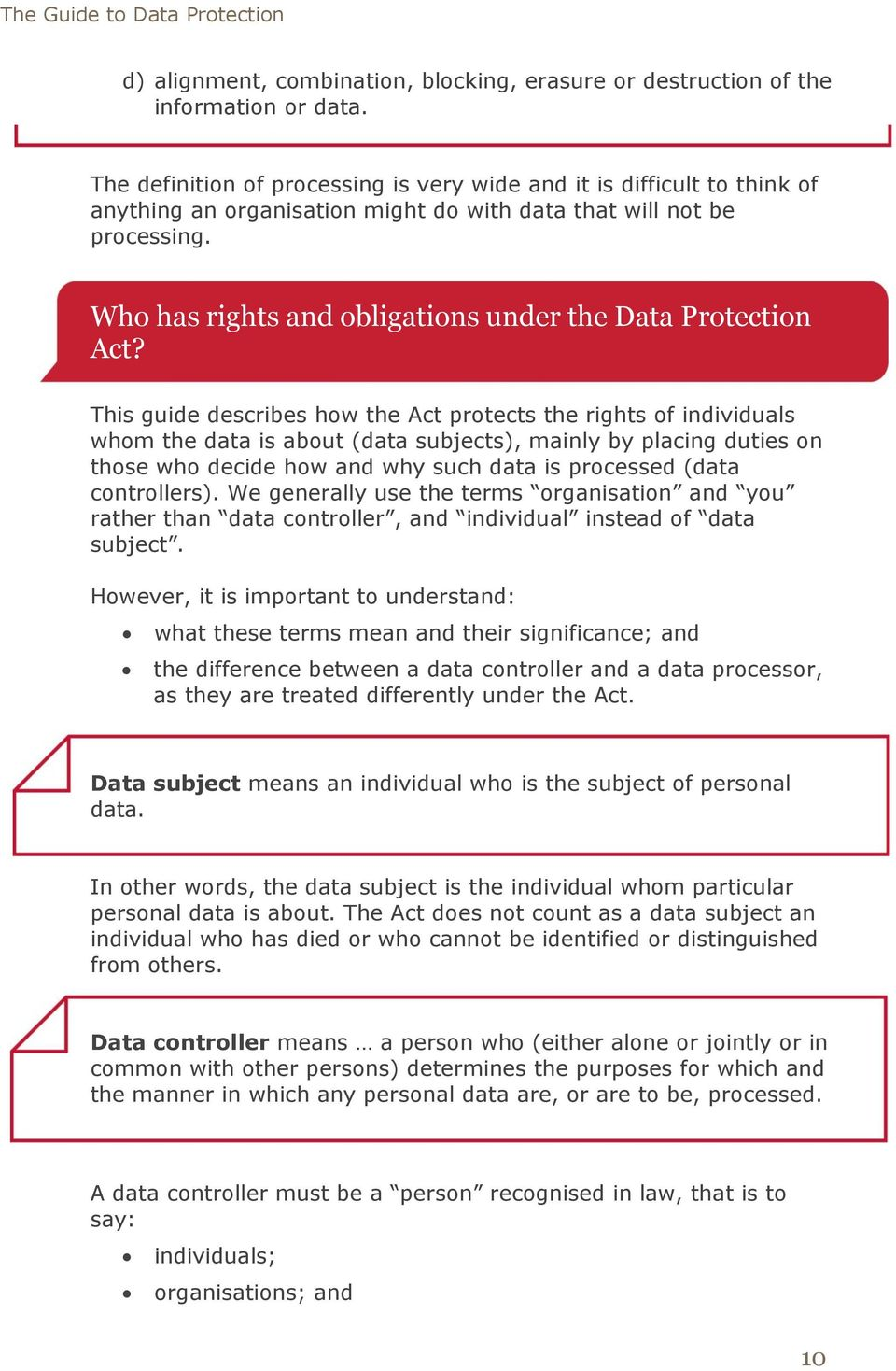 Who has rights and obligations under the Data Protection Act?