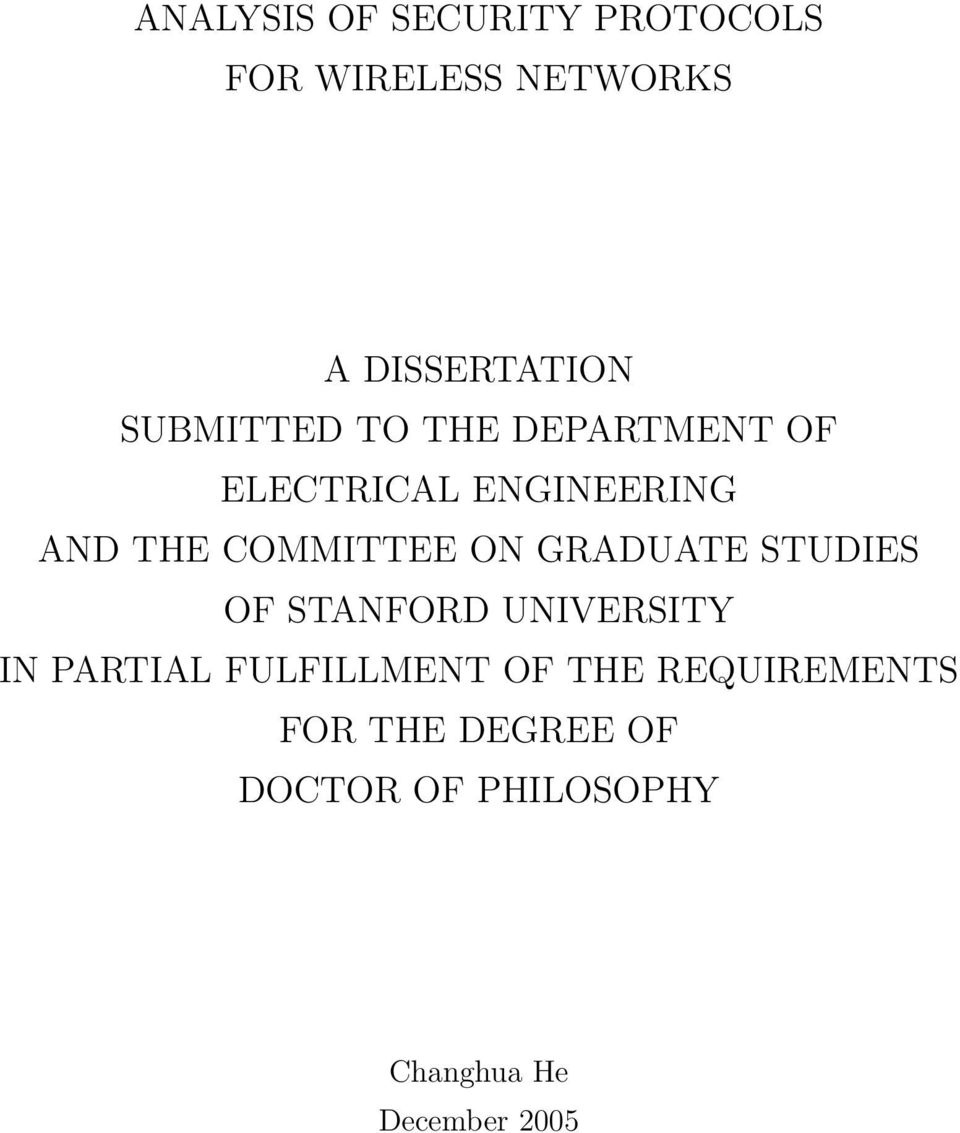 ON GRADUATE STUDIES OF STANFORD UNIVERSITY IN PARTIAL FULFILLMENT OF THE