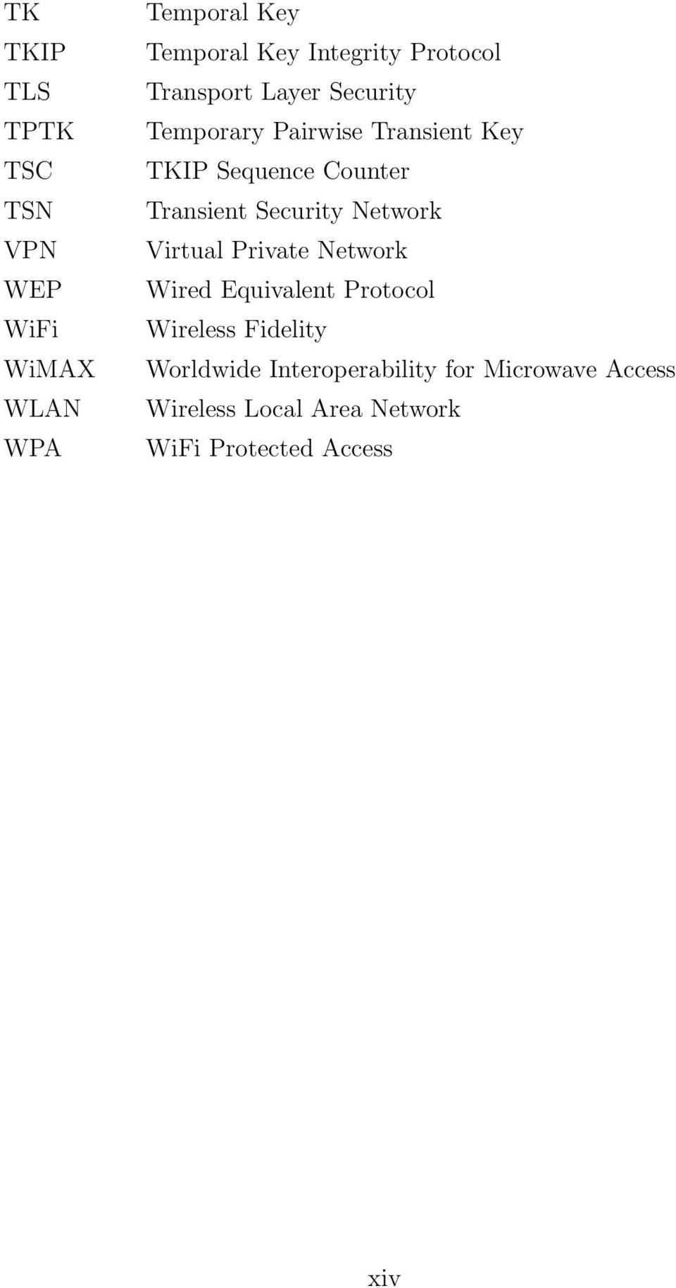 Transient Security Network Virtual Private Network Wired Equivalent Protocol Wireless