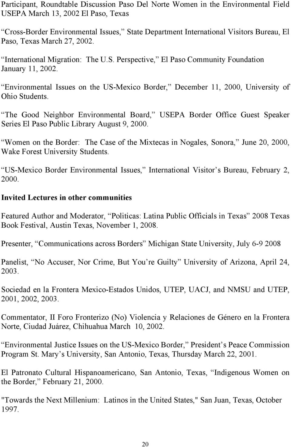 Environmental Issues on the US-Mexico Border, December 11, 2000, University of Ohio Students.