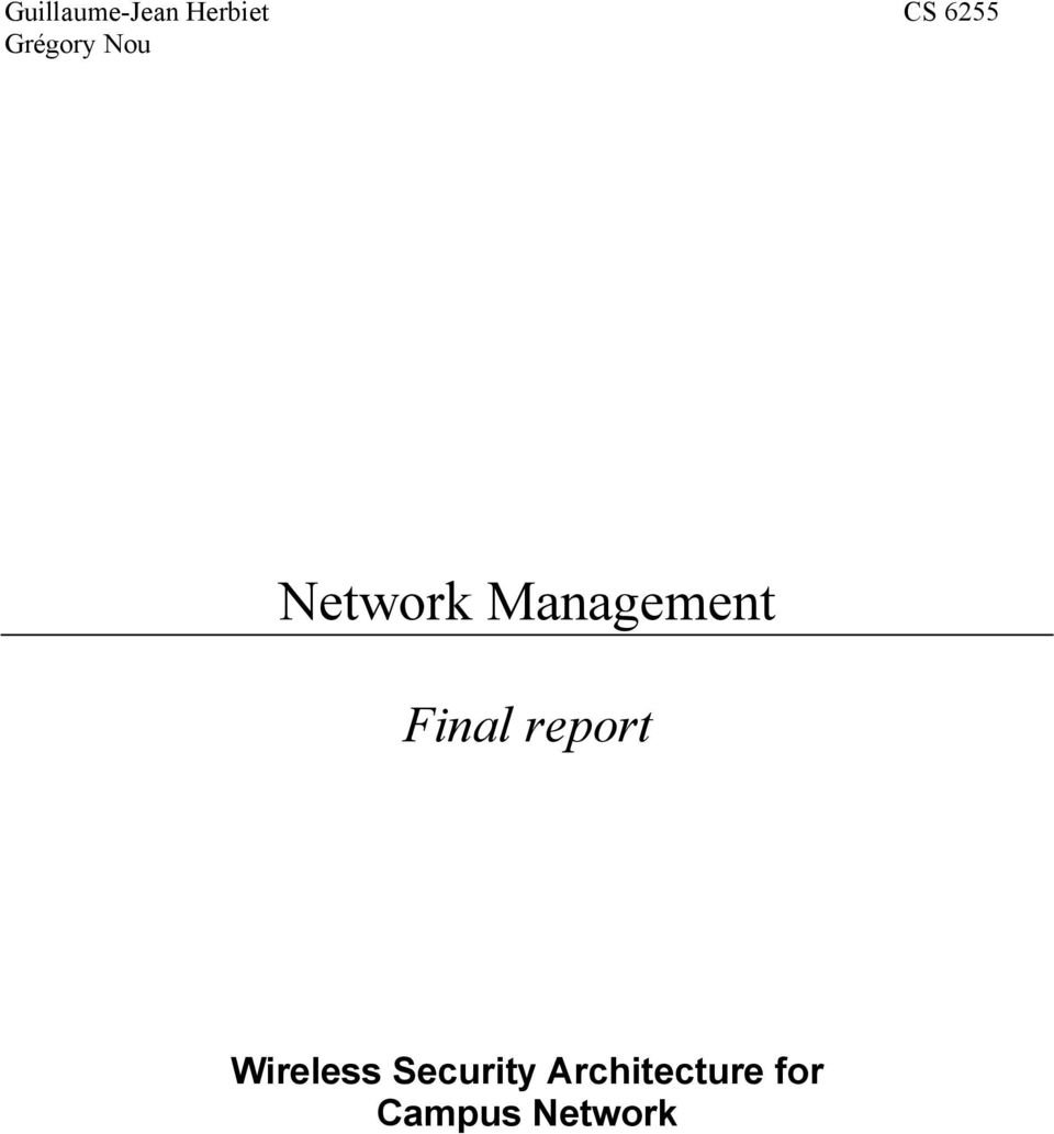 Final report Wireless Security