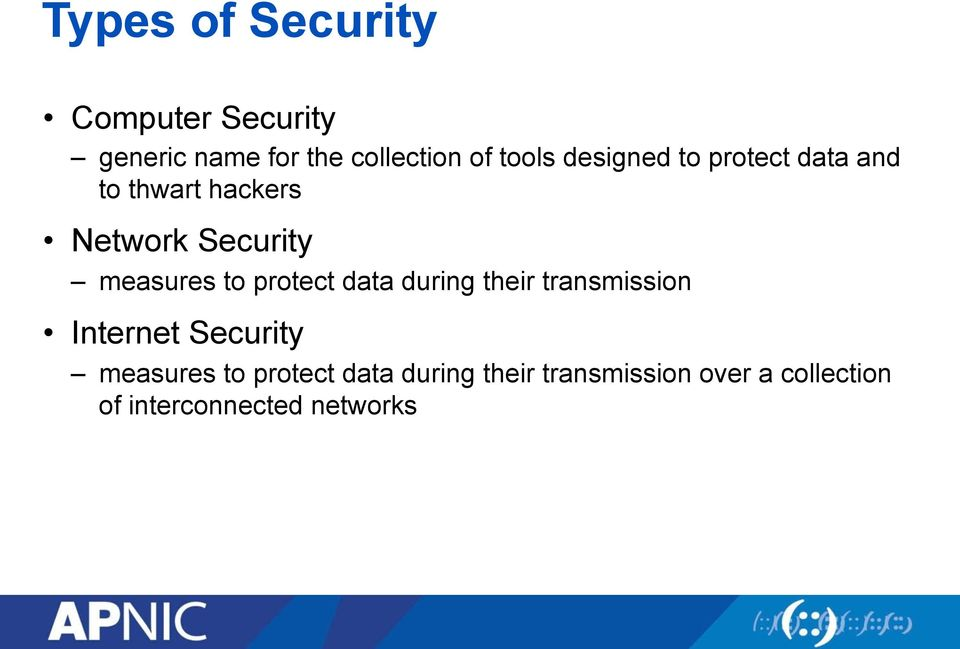 protect data during their transmission Internet Security measures to protect