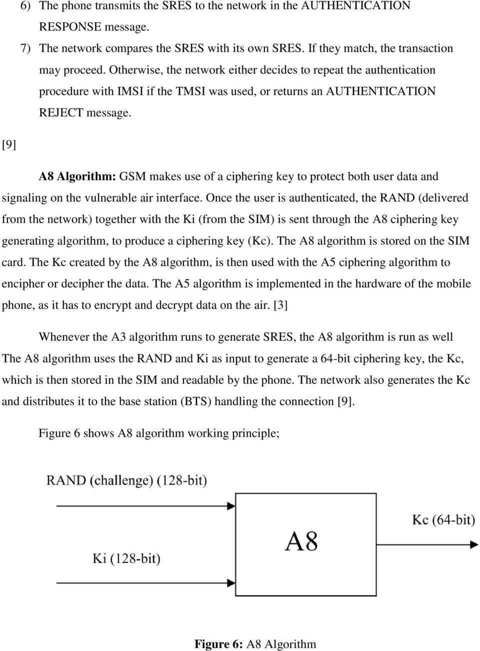 [9] A8 Algorithm: GSM makes use of a ciphering key to protect both user data and signaling on the vulnerable air interface.