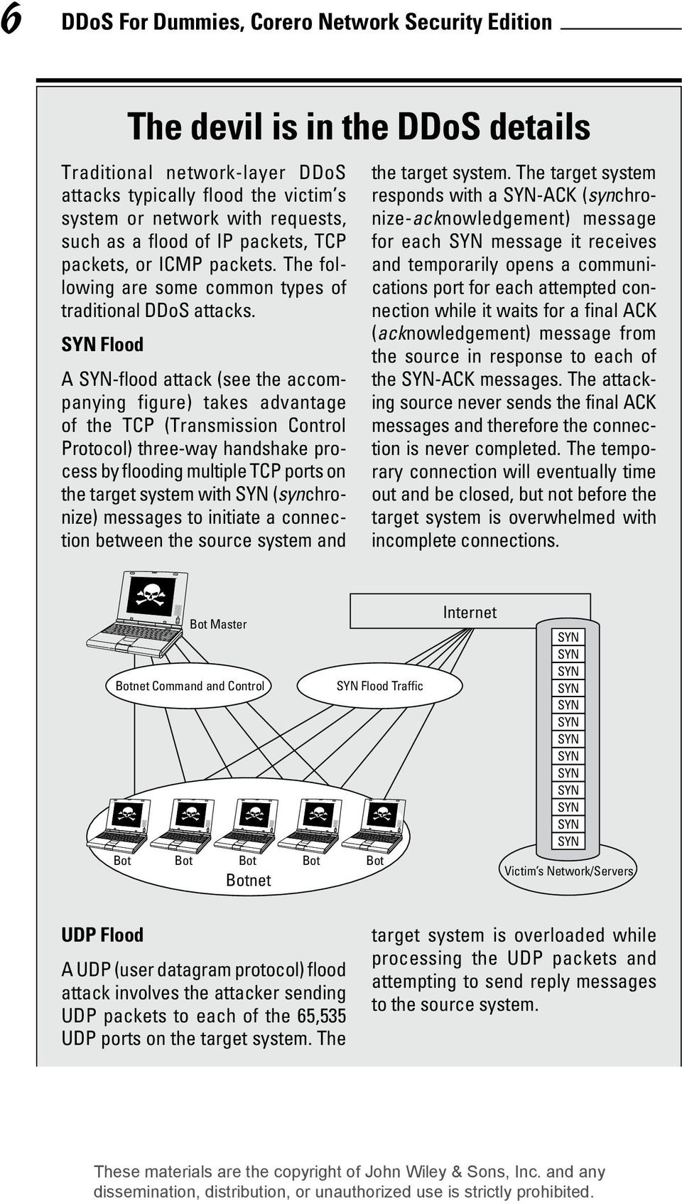 SYN Flood A SYN-flood attack (see the accompanying figure) takes advantage of the TCP (Transmission Control Protocol) three-way handshake process by flooding multiple TCP ports on the target system