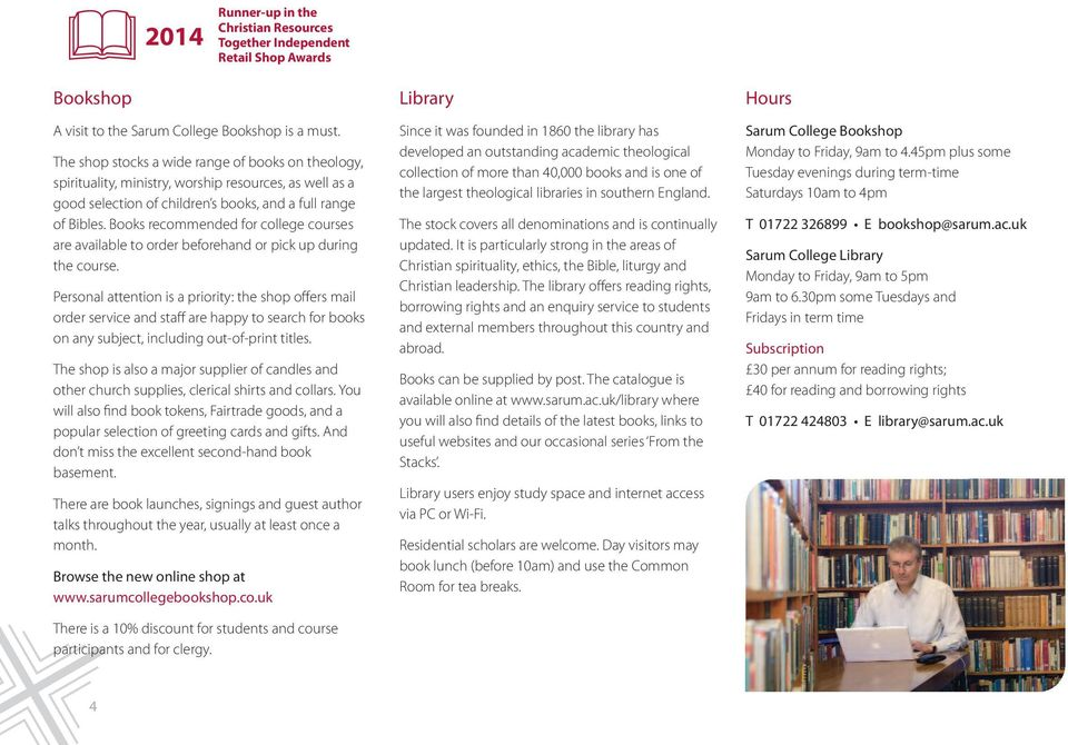 Books recommended for college courses are available to order beforehand or pick up during the course.