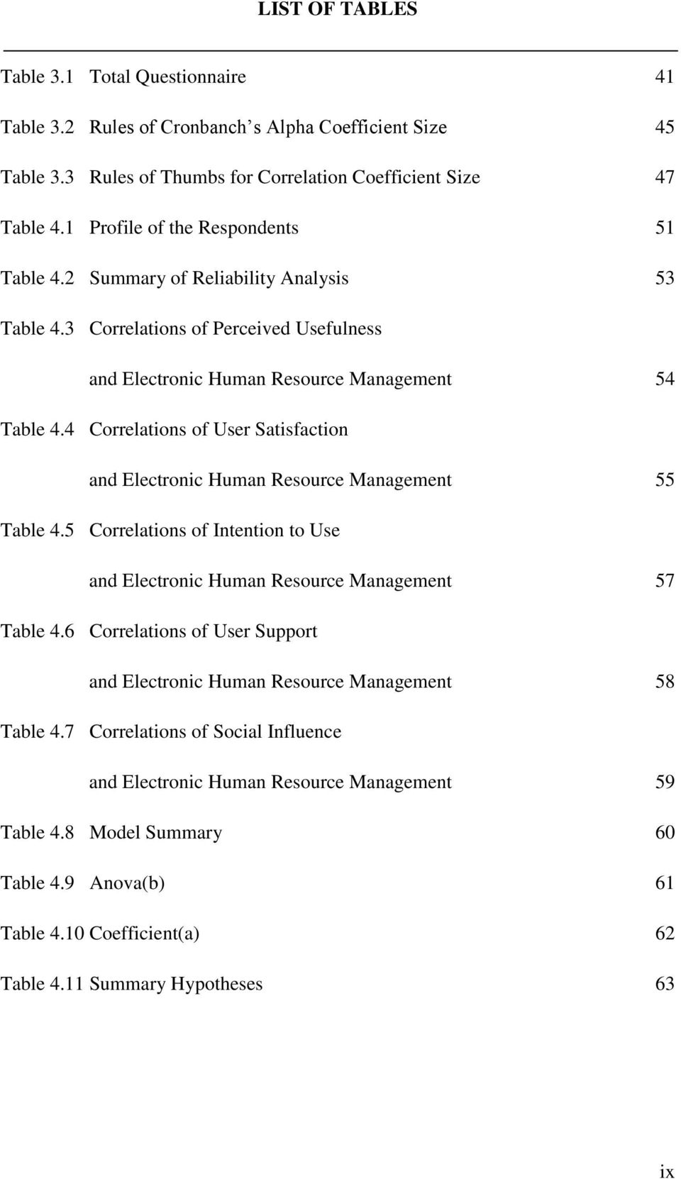4 Correlations of User Satisfaction and Electronic Human Resource Management 55 Table 4.5 Correlations of Intention to Use and Electronic Human Resource Management 57 Table 4.