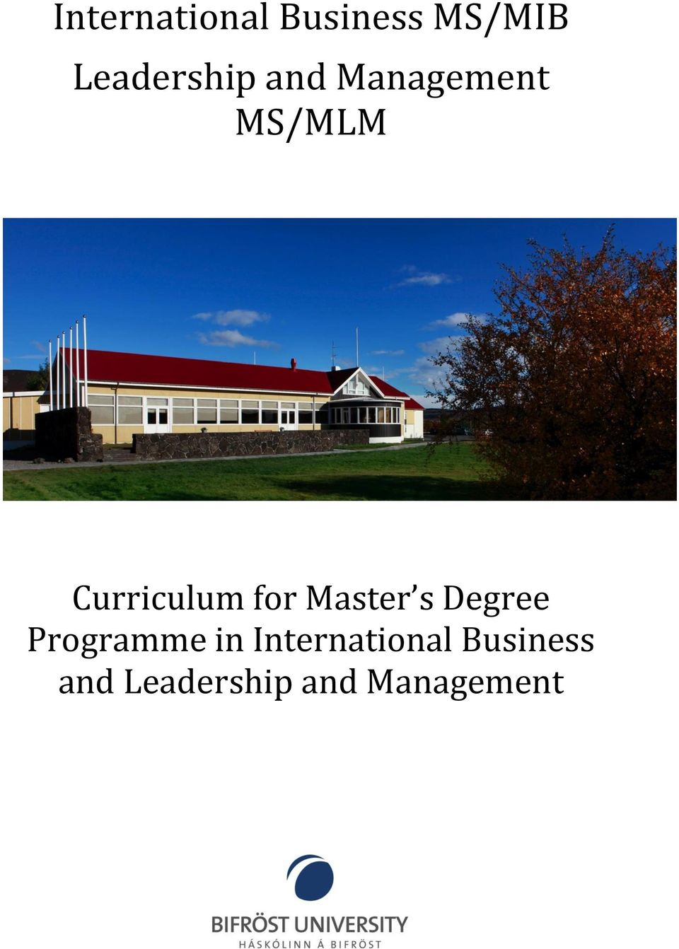 Curriculum for Master s Degree