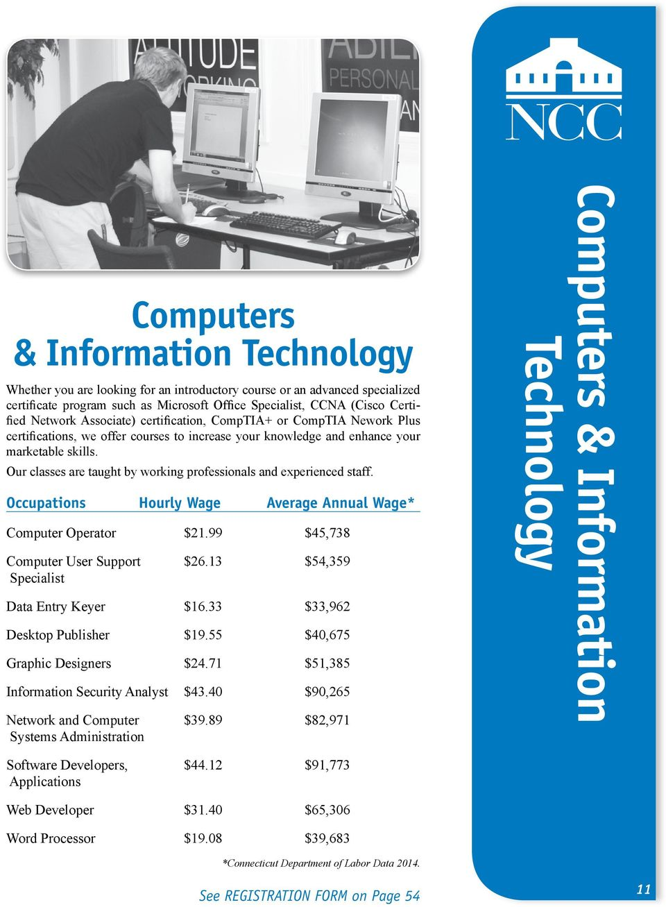 Our classes are taught by working professionals and experienced staff. Occupations Hourly Wage Average Annual Wage* Computer Operator $21.99 $45,738 Computer User Support $26.