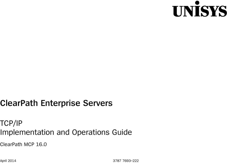and Operations Guide ClearPath