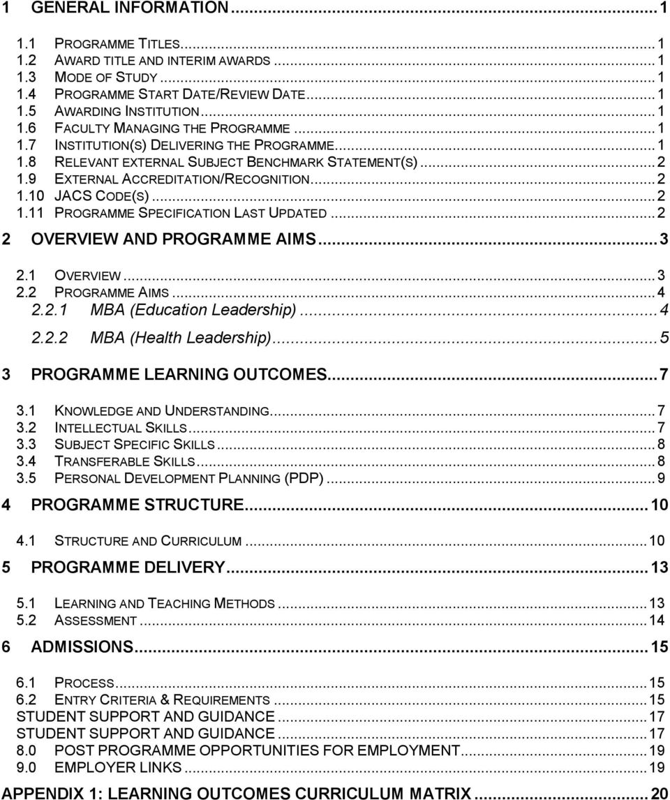 .. 2 2 OVERVIEW AND PROGRAMME AIMS... 3 2.1 OVERVIEW... 3 2.2 PROGRAMME AIMS... 4 2.2.1 MBA (Education Leadership)... 4 2.2.2 MBA (Health Leadership)... 5 3 PROGRAMME LEARNING OUTCOMES... 7 3.