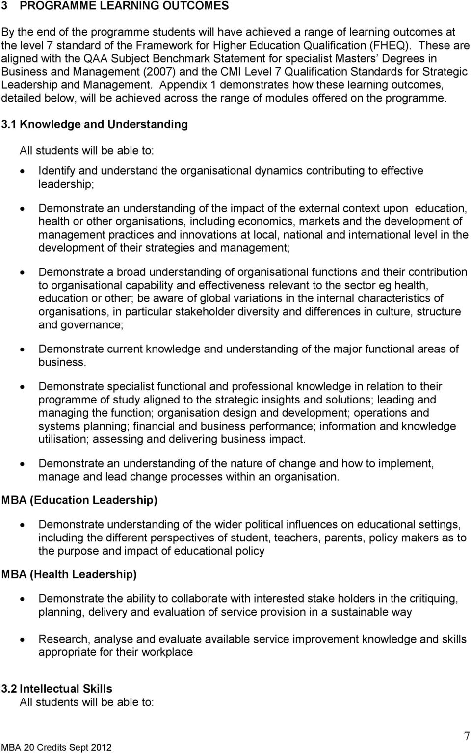 Management. Appendix 1 demonstrates how these learning outcomes, detailed below, will be achieved across the range of modules offered on the programme. 3.