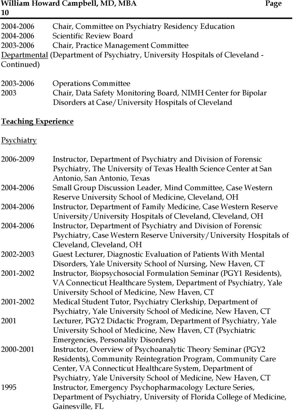 Experience Psychiatry 2006-2009 Instructor, Department of Psychiatry and Division of Forensic Psychiatry, The University of Texas Health Science Center at San Antonio, San Antonio, Texas 2004-2006