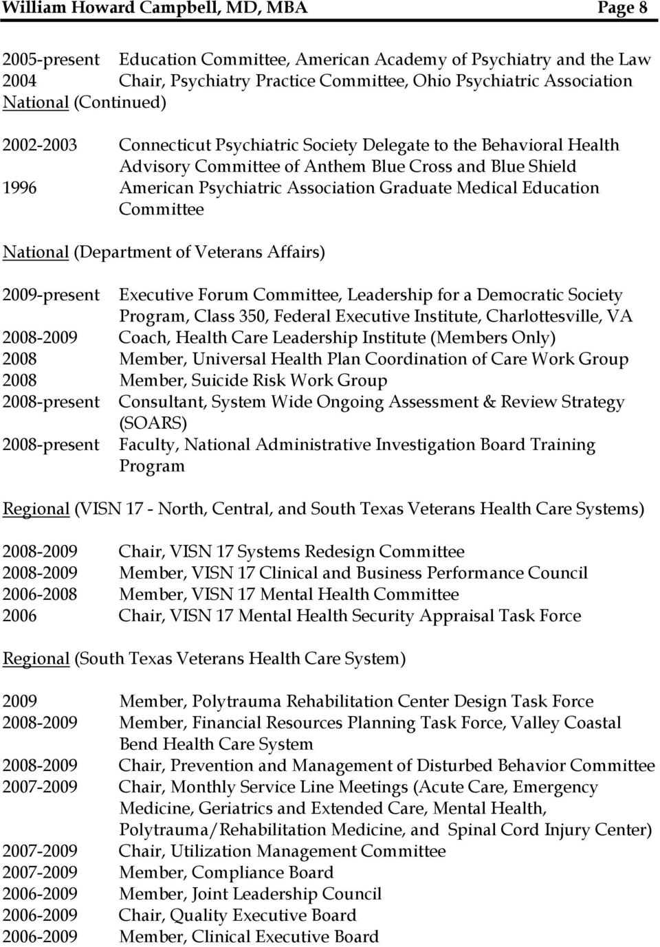 (Department of Veterans Affairs) 2009-present Executive Forum Committee, Leadership for a Democratic Society Program, Class 350, Federal Executive Institute, Charlottesville, VA 2008-2009 Coach,