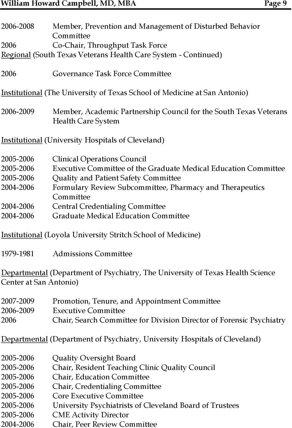 (University Hospitals of Cleveland) 2005-2006 Clinical Operations Council 2005-2006 Executive Committee of the Graduate Medical Education Committee 2005-2006 Quality and Patient Safety Committee