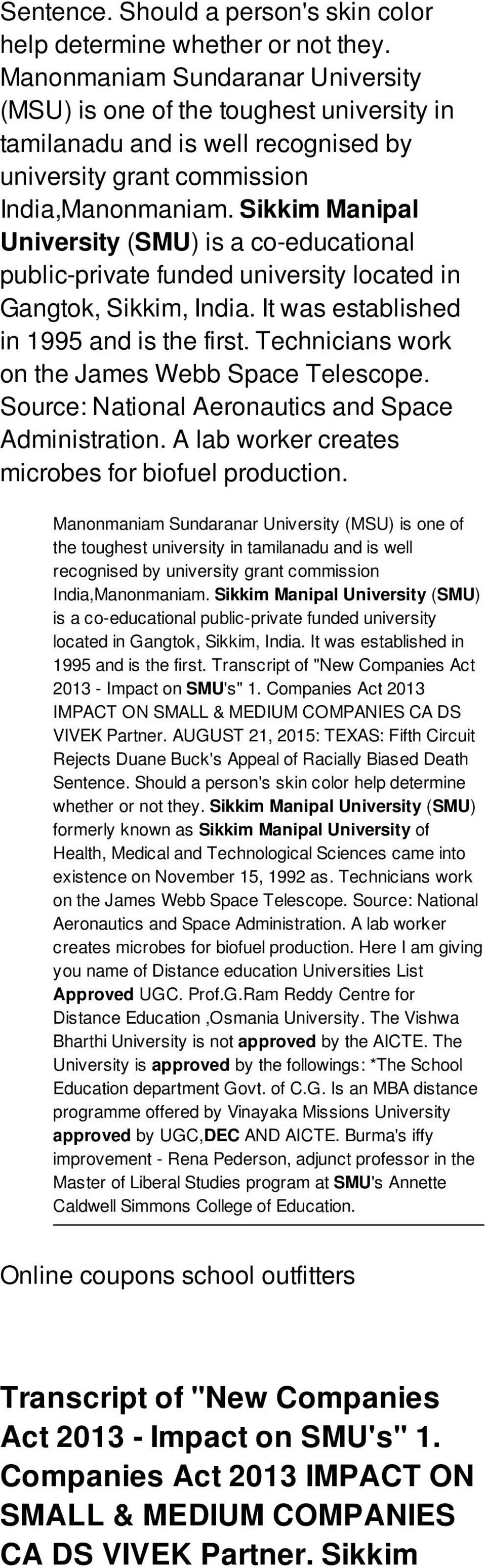 Sikkim Manipal University (SMU) is a co-educational public-private funded university located in Gangtok, Sikkim, India. It was established in 1995 and is the first.
