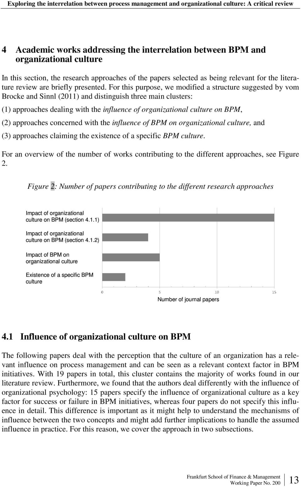 For this purpose, we modified a structure suggested by vom Brocke and Sinnl () and distinguish three main clusters: (1) approaches dealing with the influence of organizational culture on BPM, (2)