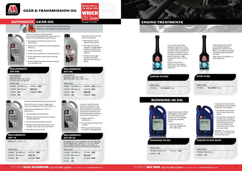 Automatic transmission and power steering fluid.