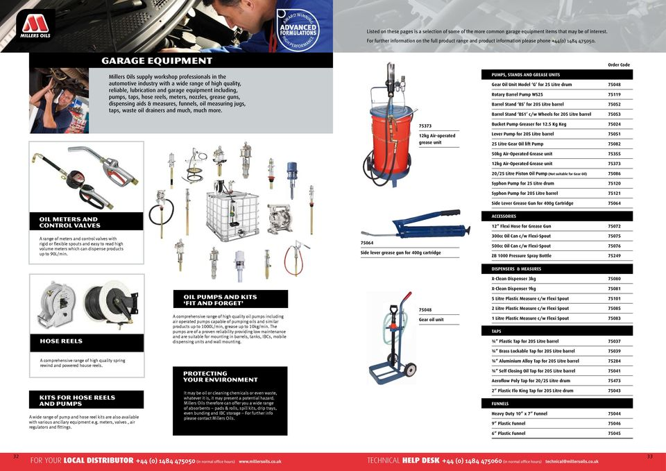 GARAGE EQUIPMENT Millers Oils supply workshop professionals in the automotive industry with a wide range of high quality, reliable, lubrication and garage equipment including, pumps, taps, hose
