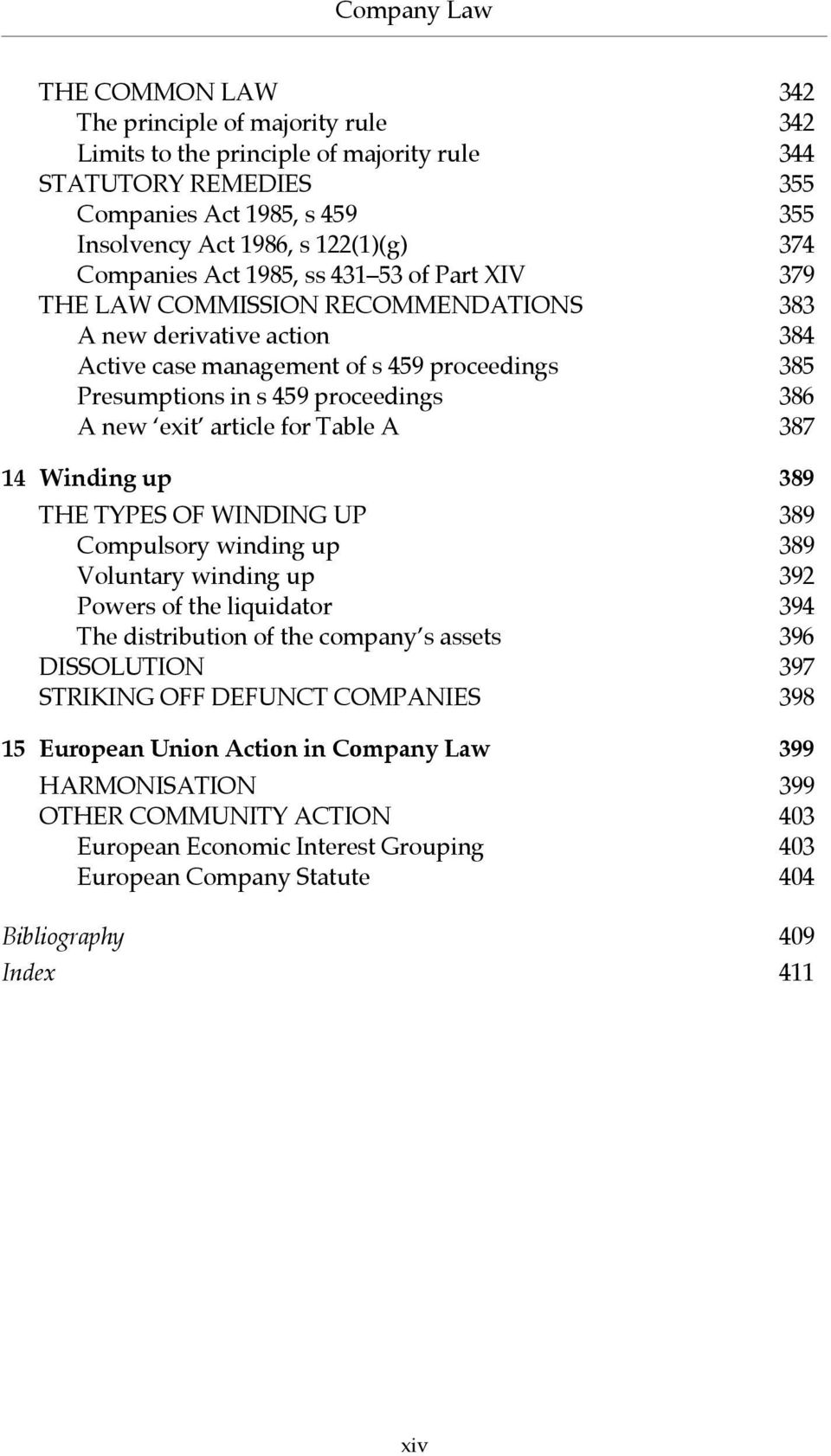 386 A new exit article for Table A 387 14 Winding up 389 THE TYPES OF WINDING UP 389 Compulsory winding up 389 Voluntary winding up 392 Powers of the liquidator 394 The distribution of the company s