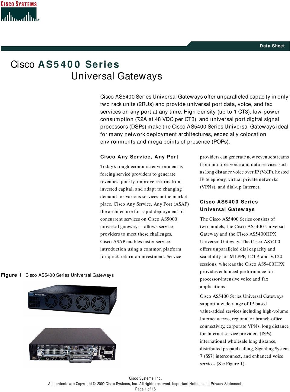 2A at 48 VDC per CT3), and universal port digital signal processors (DSPs) make the Cisco AS5400 Series Universal Gateways ideal for many network deployment architectures, especially colocation