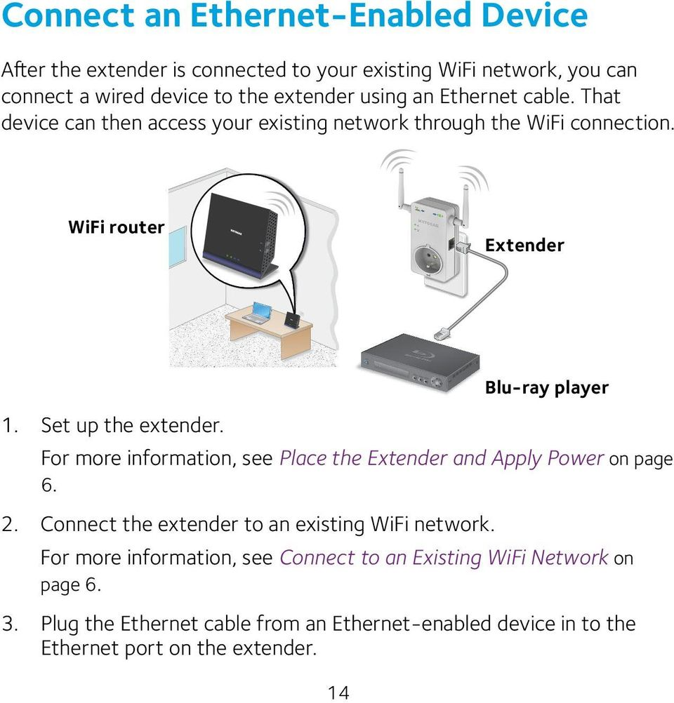 For more information, see Place the Extender and Apply Power on page 6. 2. Connect the extender to an existing WiFi network.