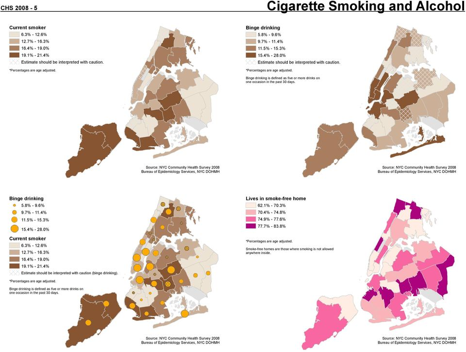 3% - 12.6% 12.7% - 16.3% 16.4% - 19.0% 19.1% - 21.4% Estimate should be interpreted with caution (binge drinking). Lives in smoke-free home 62.1% - 70.3% 70.4% - 74.8% 74.