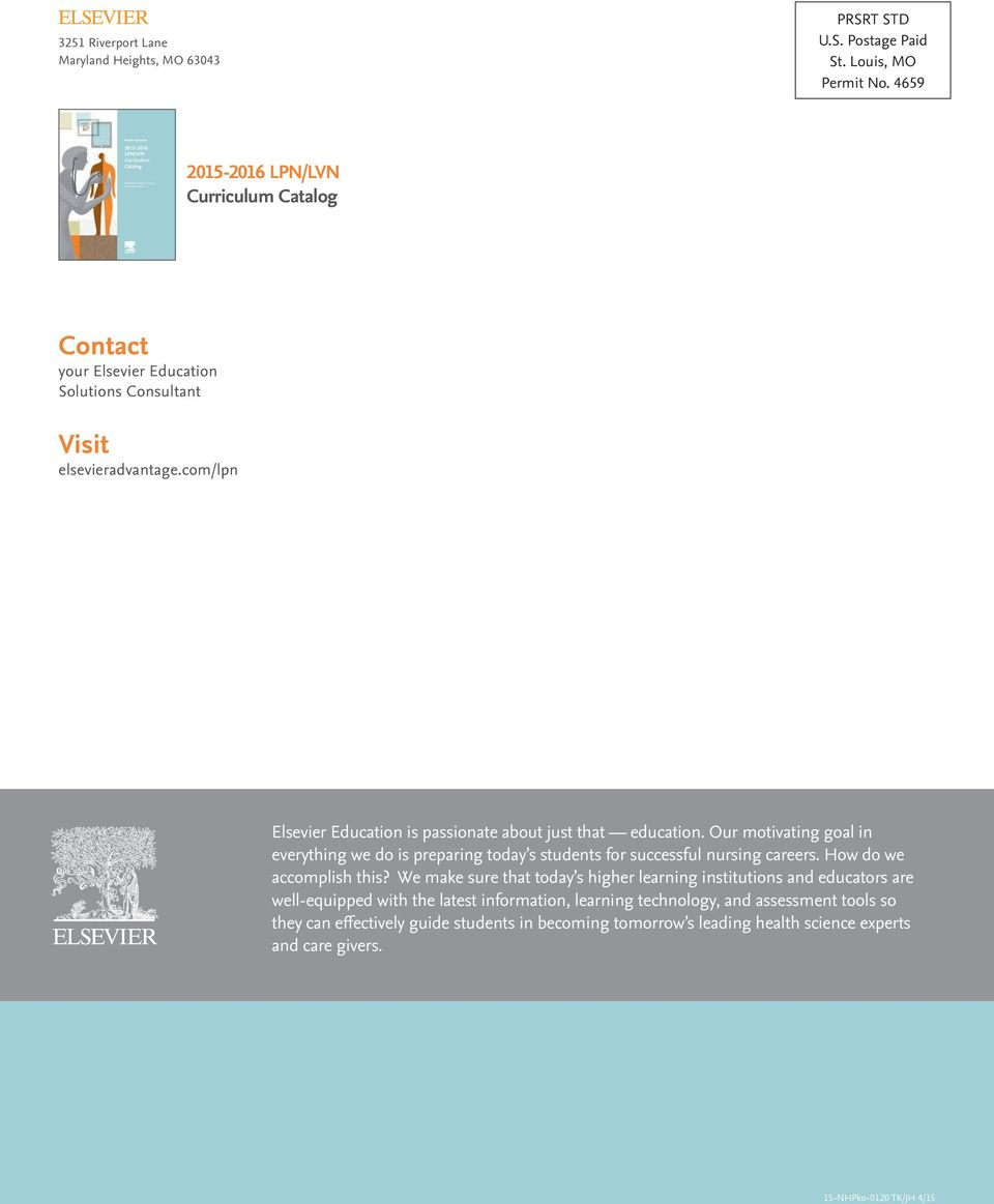Lpnlvn curriculum catalog delivering solutions to support your comlpn elsevier education is passionate about just that education our motivating goal in fandeluxe Gallery